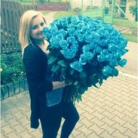 100 modrých růží - spokojená zákaznice