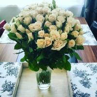 Krásná kytice bílých růží jako dárek